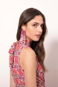 Sleeveless Moroccan Print Dress - Misses - Magenta - Back