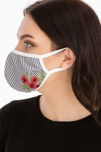 Floral Embroidered Fashion Face Mask - Blue Stripe - Back