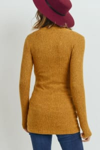 Little Momma's Ribbed Bodycon Top - Mustard - Back