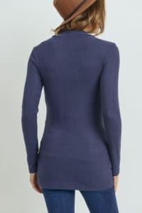 Little Momma's Ribbed Bodycon Top - Navy - Back