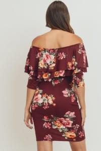 Little Momma's Off-Shoulder Rum Dress with Floral Embellishments - Burgundy - Back