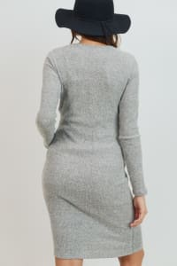 Little Momma's Round Neck Ribbed Dress - Heather gray - Back