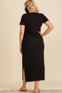 "Never Forget Your Mask"" Turtle Neck Tunic Dress - Plus - Black - Back"