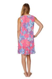 Caribbean Joe Floral Crinkle Gauze Dress - Misses - Pink - Back