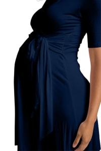 Ultra-Femme Maternity V-Neck Dress - Navy - Back