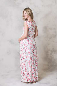 Rayon Maxi Dress - Ivory / Pink - Back