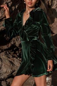 Short Velvet Cocktail Dress - Teal - Back