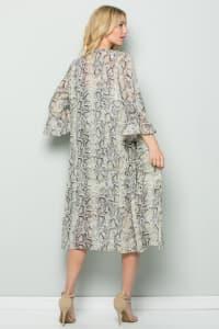 Snake Print Ruffle Sleeve Kimono - Taupe - Back