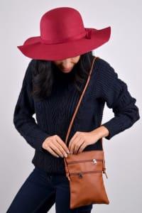 Floppy Wide Brim Bowknot Hat - Burgundy - Back