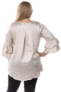 Flowy Silk-Like Plus Size Leopard Print Top - Taupe - Back