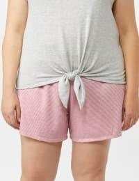 Color Block Tie Front Knit Tee - Plus - Back