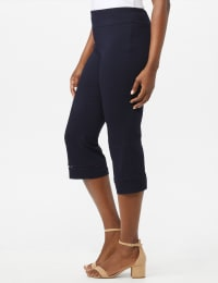 Pull On Crop Lace Hem Pants - Back