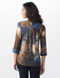 Roz & Ali Jaquard Tie Dye Knit Popover - Misses - Navy-BRN - Back