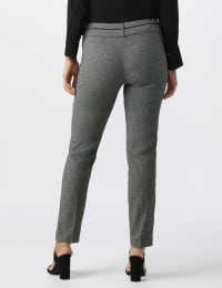Pull On Jacquard Print Pant with Novelty Trim - Black/white - Back