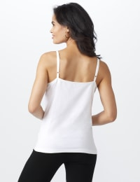 Picot Trim Cotton Spandex Cami - white - Back