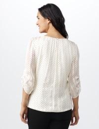Roz & Ali Champagne Dot Bubble Hem Blouse - Misses - Champagne - Back