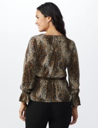 Long Sleeve Animal Peplum Blouse - Pebble - Back