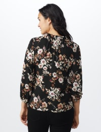 Floral Tie Neck Blouse - Black/Taupe - Back