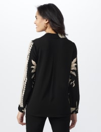Roz & Ali Placement Print Blouse - Taupe/Black - Back