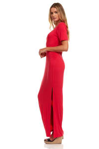 Ruched Side Maxi Dress With Criss-Cross Detail - Red - Back