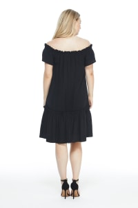 Short Sleeve On and Off Shoulder Ruffle Hem Dress - black - Back