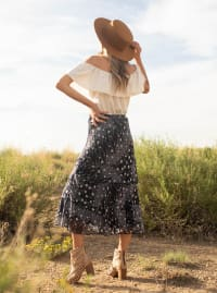 Bias Cut 4 Tier Elastic Waistband Skirt - Navy/Ivory - Back