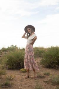 4 Tier Elastic Waistband Skirt - Blush/Taupe/Black - Back