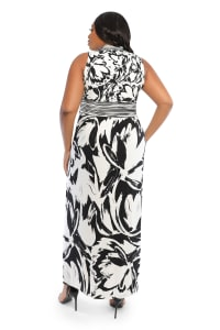 V-Neck Large Floral Maxi Sundress - Black/white - Back