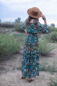 Moroccan Floral Veronica Dress - Back
