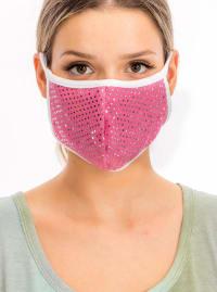Glitter Printed Fashion Face Mask - Pink - Back