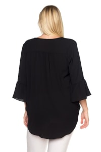 Ultra Chic Plus Size Dressy Top with Bell Sleeves - Black - Back