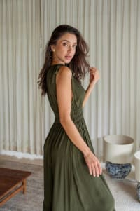 Phobe Dress - Army Green - Back