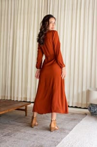 Eden Dress - Plus - Cayenne - Back
