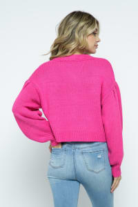 Crop Cable Knit Button Down Cardigan with Lantern Sleeves - Fuchsia - Back