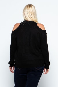 Cold Shoulder Knit Mock Neck Pullover - Plus - Black - Back