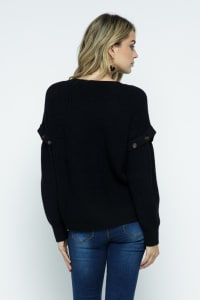 Knit Ribbed Pullover with Button Detachable Sleeves - Black - Back