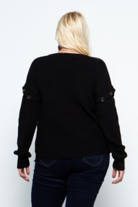 Knit Ribbed Pullover with Button Detachable Sleeves - Plus - Black - Back