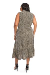 Animal  Faux Wrap Dress - Plus - Black/yellow - Back