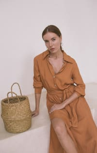 Iconic Apricot Shirt Dress - Plus - Apricot - Back