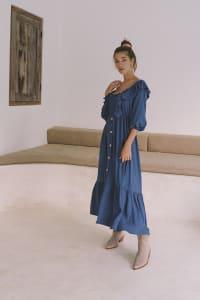 Boho Peasant Midi Dress - Sapphire - Back