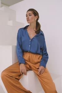 Satin Flowy Shirt - Sapphire - Back
