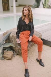 Cropped Classic Pants  - Plus - Burnt Orange - Back