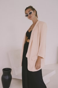Oversized Blazer - Blush - Back