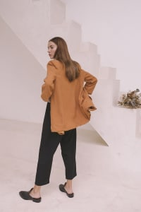 Oversized Blazer - Plus - Burnt Orange - Back