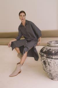 Effortless Boho-Chic Oversized Shirt Dress - Plus - Charcoal - Back