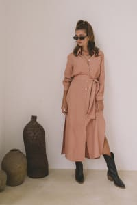 Chic Shirt Dress - Peach - Back