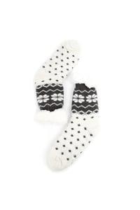 Nordic Sherpa Lined Slipper Socks - White - Back