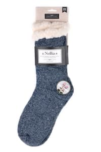 Sherpa Lined Slipper Socks - Charcoal - Back