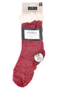 Sherpa Lined Slipper Socks - Red - Back