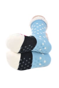 Penguin Sherpa Lined Slipper Socks - Blue - Back